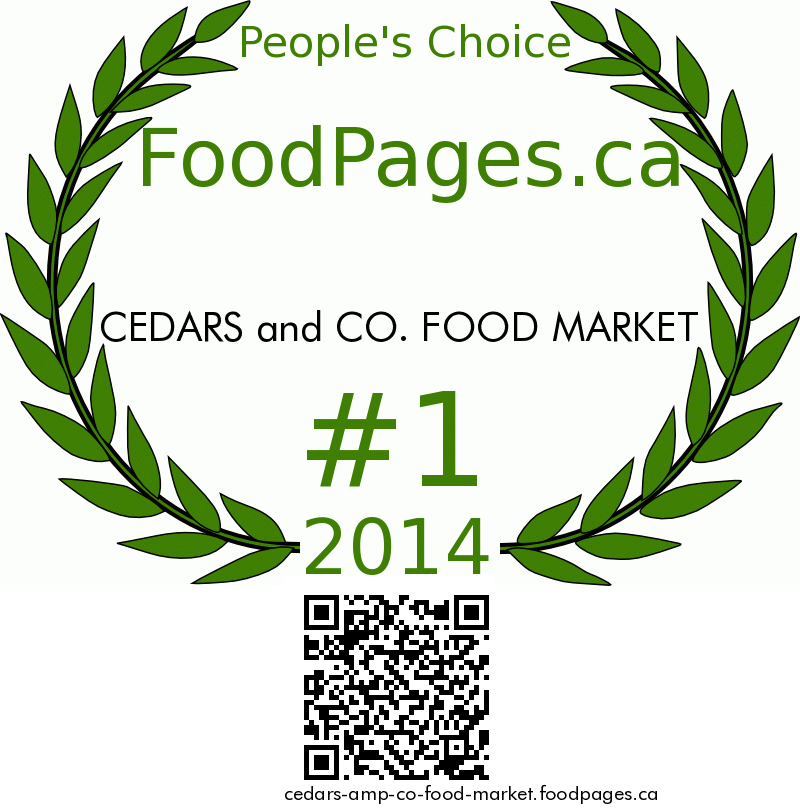 CEDARS and CO. FOOD MARKET FoodPages.ca 2014 Award Winner